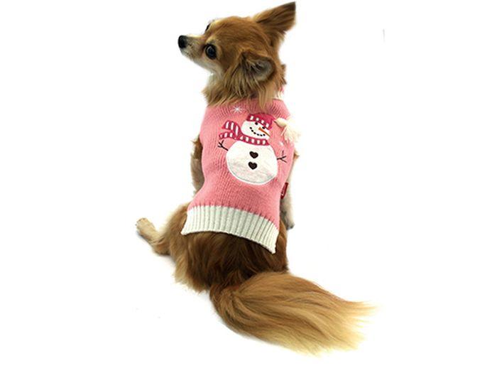 """Свитер для собак Каскад """"Снеговик"""", унисекс, цвет: розовый, белый. Размер XL"""