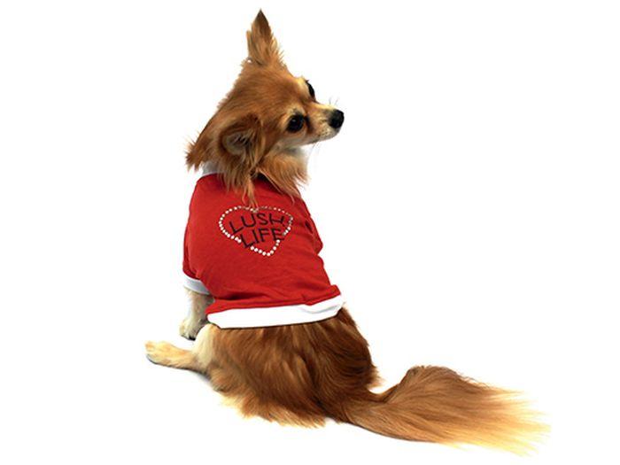 """Футболка для собак Каскад """"Lush Life"""", унисекс, цвет: красный. Размер S"""