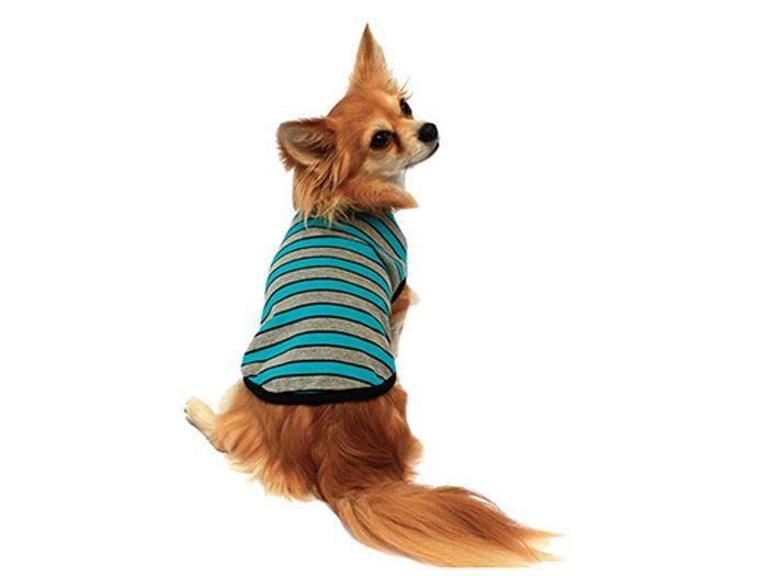 "Майка для собак Каскад ""Полоска"", унисекс, цвет: серый, голубой. Размер L"