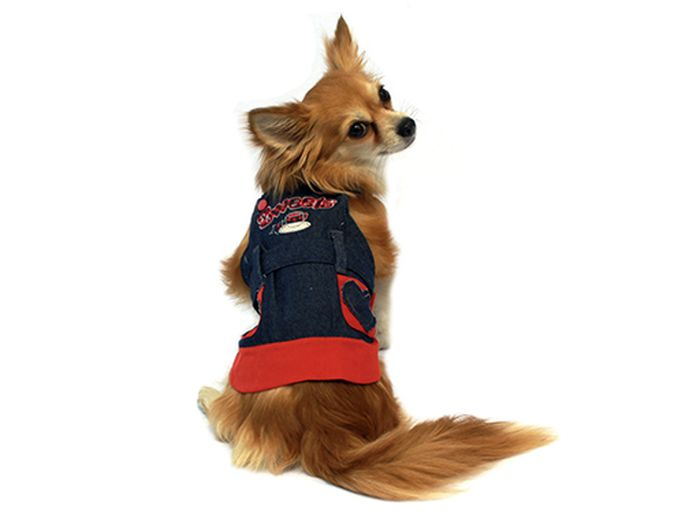 "Сарафан для собак Каскад ""Сердечки"", цвет: синий, красный. Размер M"