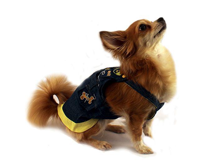 """Сарафан для собак """"Каскад"""", цвет: темно-синий, желтый. Размер S"""