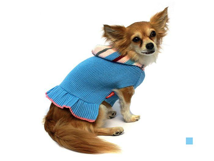 """Платье для собак Каскад """"Полоска"""", вязаное, цвет: голубой. Размер M"""