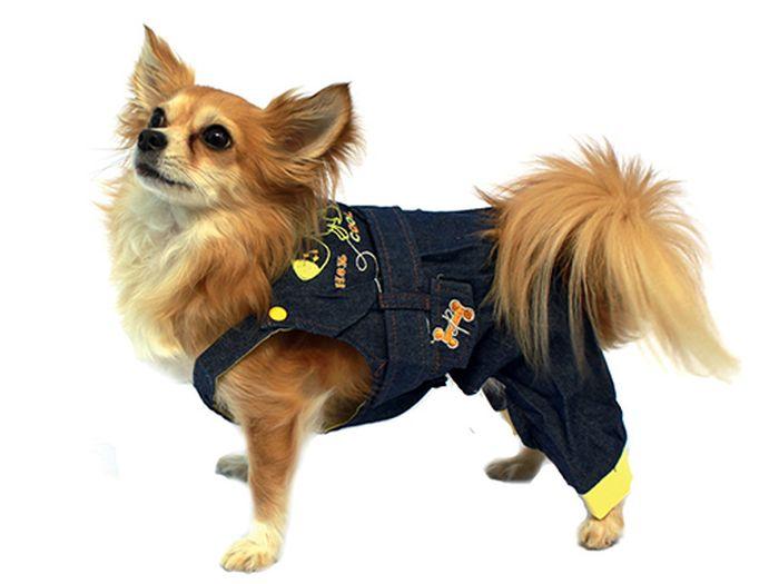 "Полукомбинезон для собак ""Каскад"", унисекс, цвет: синий, желтый. Размер L"