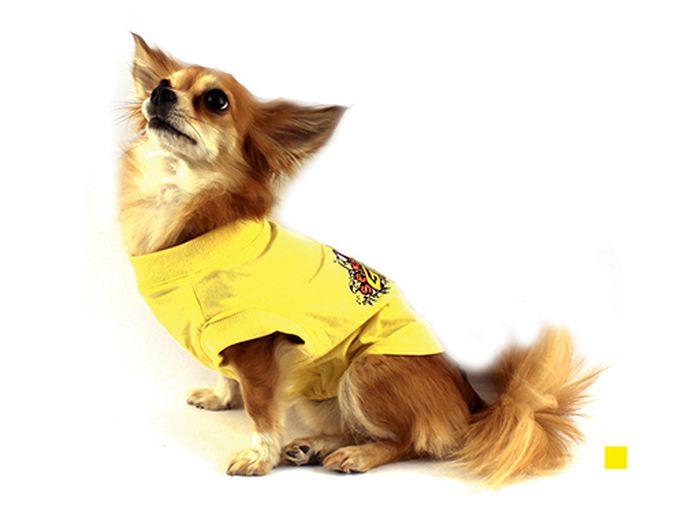 "Футболка для собак Каскад ""Sexy Girl"", для девочки, цвет: желтый. Размер M"