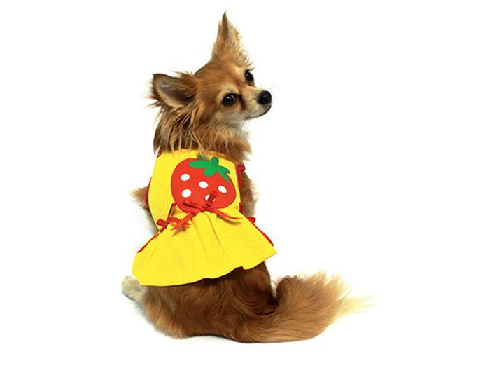 """Платье для собак Каскад """"Клубничка"""", для девочки, цвет: желтый. Размер M"""