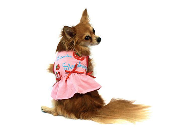 """Платье для собак Каскад """"Клубничка"""", цвет: розовый, красный. Размер M"""