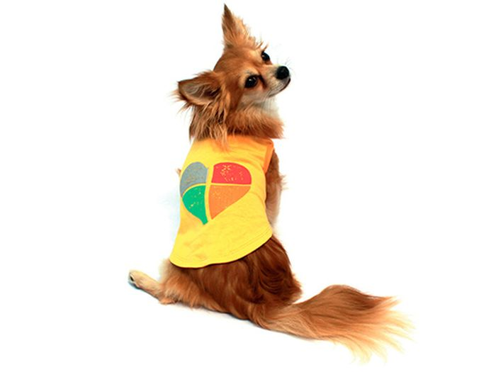 "Майка для собак Каскад ""Сердце"", унисекс, цвет: желтый. Размер M"