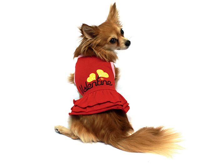 """Платье для собак Каскад """"Два сердца"""", цвет: красный. Размер S"""