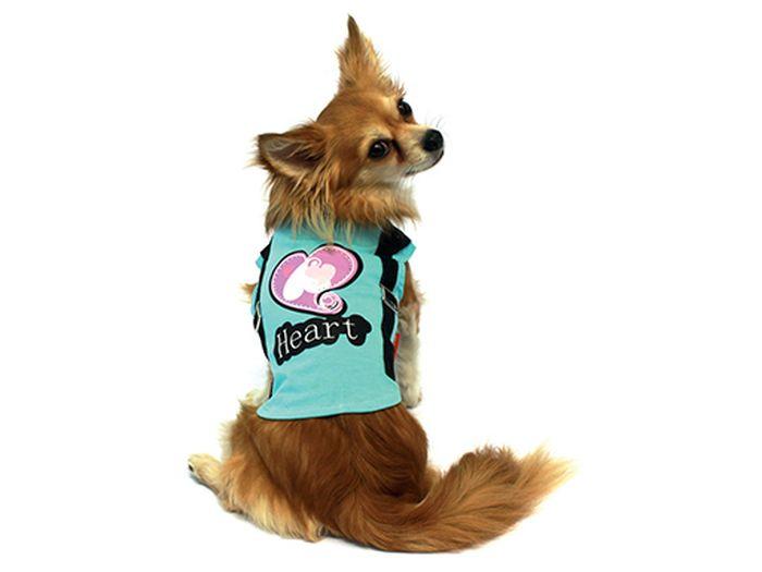 "Футболка для собак Каскад ""Heart"", унисекс, цвет: голубой. Размер M"