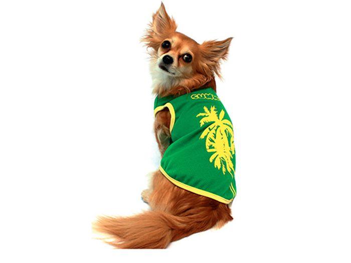 """Майка для собак Каскад """"Пальмы"""", унисекс, цвет: зеленый, желтый. Размер M"""
