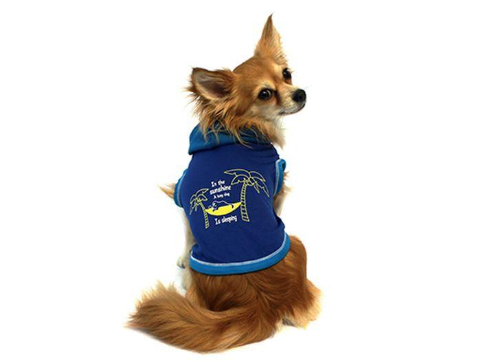 "Майка для собак Каскад ""Пальмы"", унисекс, цвет: синий. Размер S"