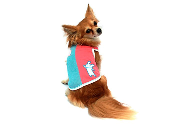 "Майка для собак Каскад ""Зайчик"", унисекс, цвет: голубой, розовый. Размер S"
