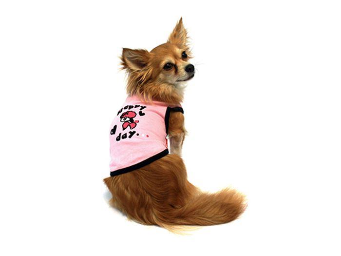 Майка для собак Каскад Happy Day. Овечка, для девочки, цвет: розовый. Размер M52000725Майка для собак Каскад выполнена из трикотажа. Майка без рукавов не ограничивает свободу движений, поэтому собачка будет чувствовать себя в ней комфортно. Спинка модели дополнена надписями и изображением овечки. Модная и невероятно удобная трикотажная майка защитит вашего питомца от пыли и насекомых на улице, согреет дома или на даче. Длина по спинке: 25 см.