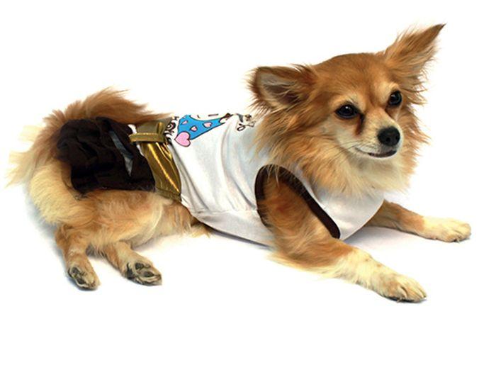 """Платье для собак """"Каскад"""", цвет: золотой, белый. Размер S"""
