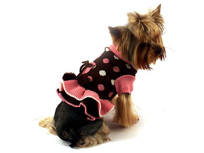 """Платье для собак Каскад """"Горошек"""", цвет: коричневый, розовый. Размер M"""