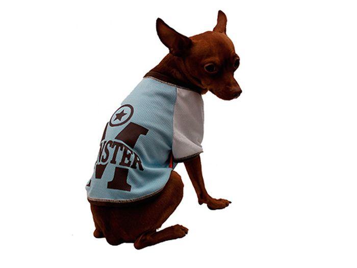 "Футболка для собак Каскад ""Monster"", унисекс, цвет: голубой. Размер L"