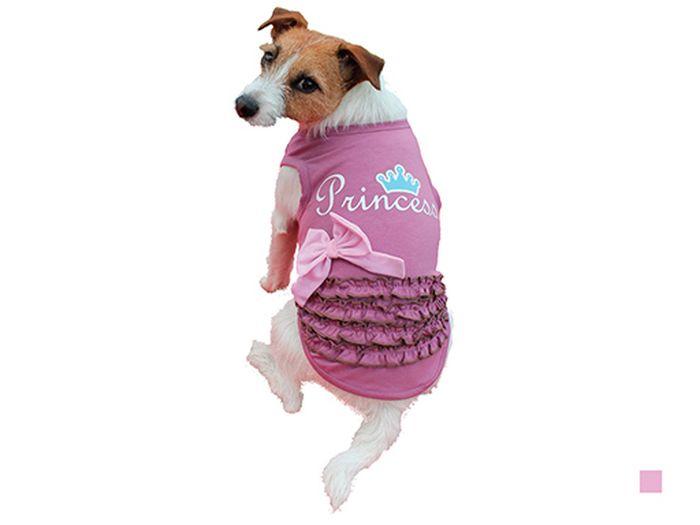 "Майка для собак Каскад ""Princess"", для девочки, цвет: розовый. Размер L"