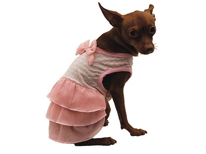 Сарафан для собак Каскад С бантом, для девочки, цвет: розовый. Размер S комплект одежды для девочки осьминожка дружба цвет молочный розовый т 3122в размер 56