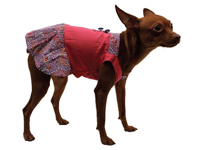 """Сарафан для собак Каскад """"Восточный огурец"""", цвет: розовый, фиолетовый. Размер L"""