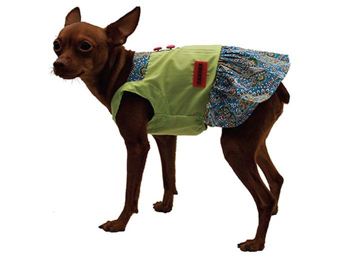 """Сарафан для собак Каскад """"Восточный огурец"""", цвет: салатовый, синий. Размер M"""