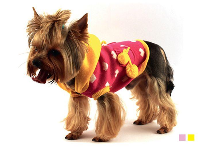 """Свитер для собак Каскад """"Сердечки"""", унисекс, цвет: розовый, желтый. Размер XL"""
