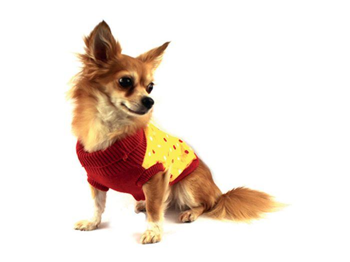 "Свитер для собак Каскад ""Собачка"", унисекс, цвет: желтый, красный. Размер XL"