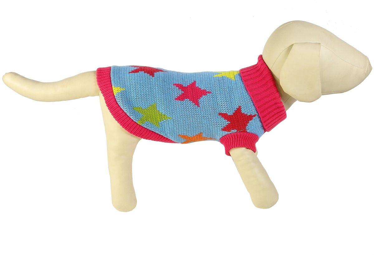 """Свитер для собак Каскад """"Звезды"""", унисекс, цвет: голубой, красный. Размер L"""