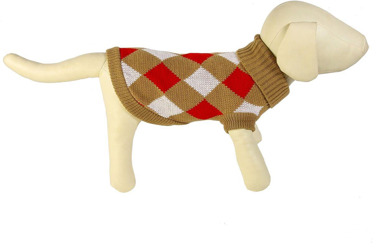 """Свитер для собак Каскад """"Клетка крупная"""", унисекс, цвет: коричневый, красный. Размер M"""