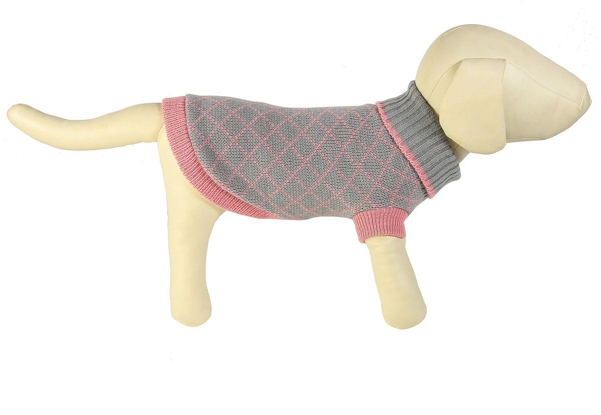 "Свитер для собак Каскад ""Клетка мелкая"", унисекс, цвет: серый, розовый. Размер M"