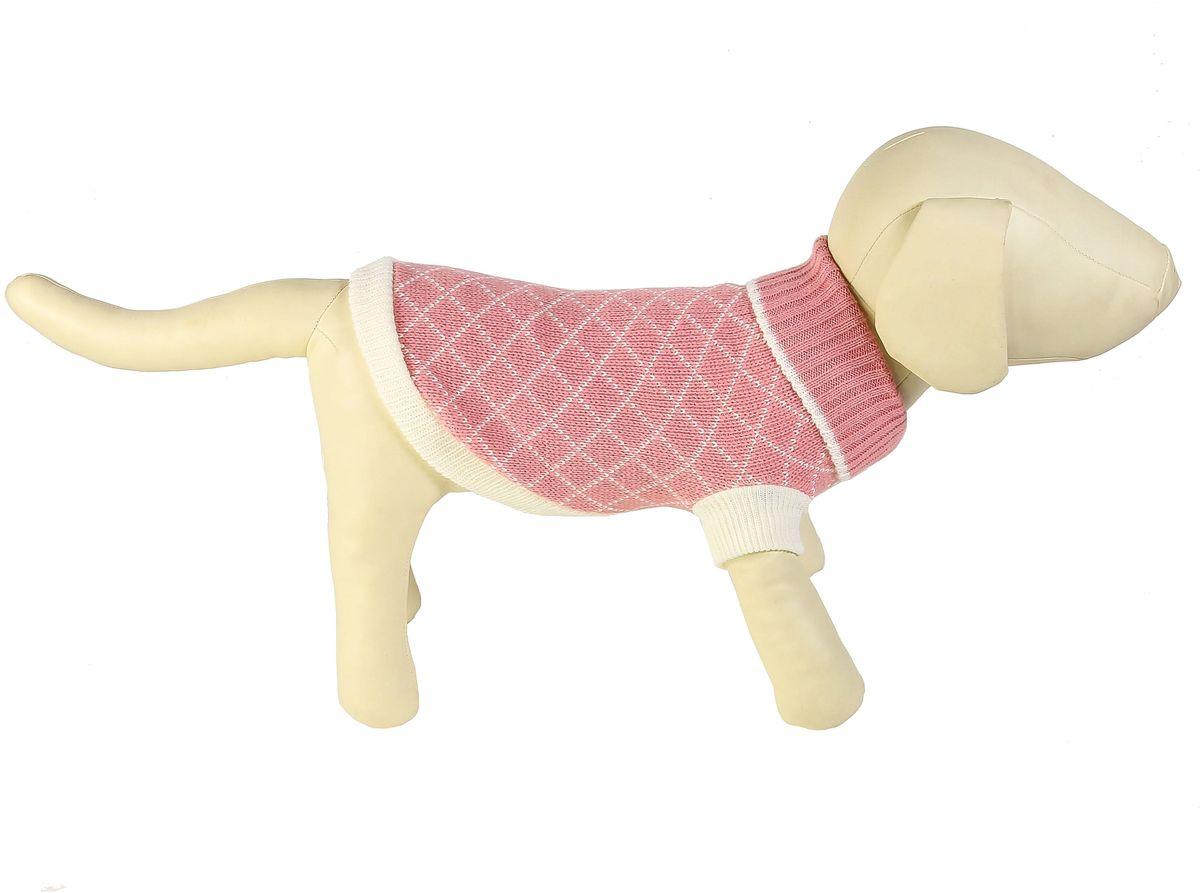 """Свитер для собак Каскад """"Клетка мелкая"""", унисекс, цвет: розовый, белый. Размер M"""