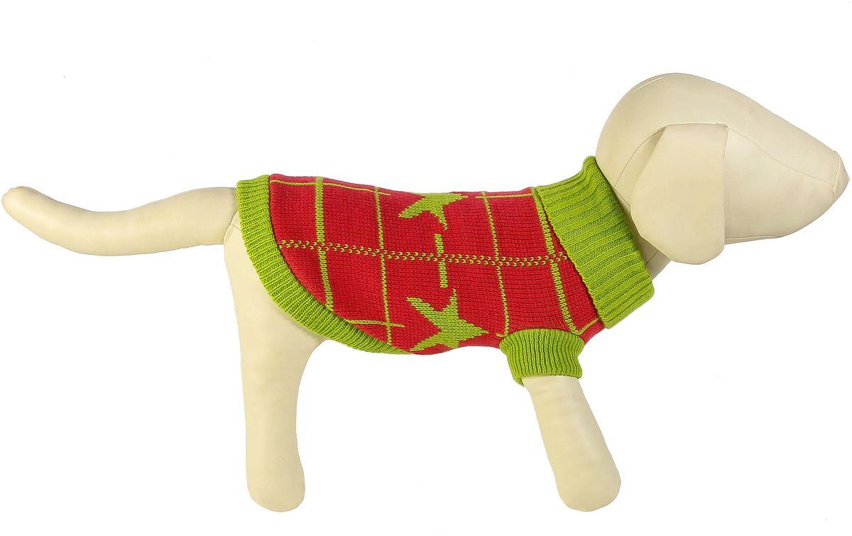"""Свитер для собак Каскад """"Звезда и клетка"""", унисекс, цвет: зеленый, красный. Размер S"""