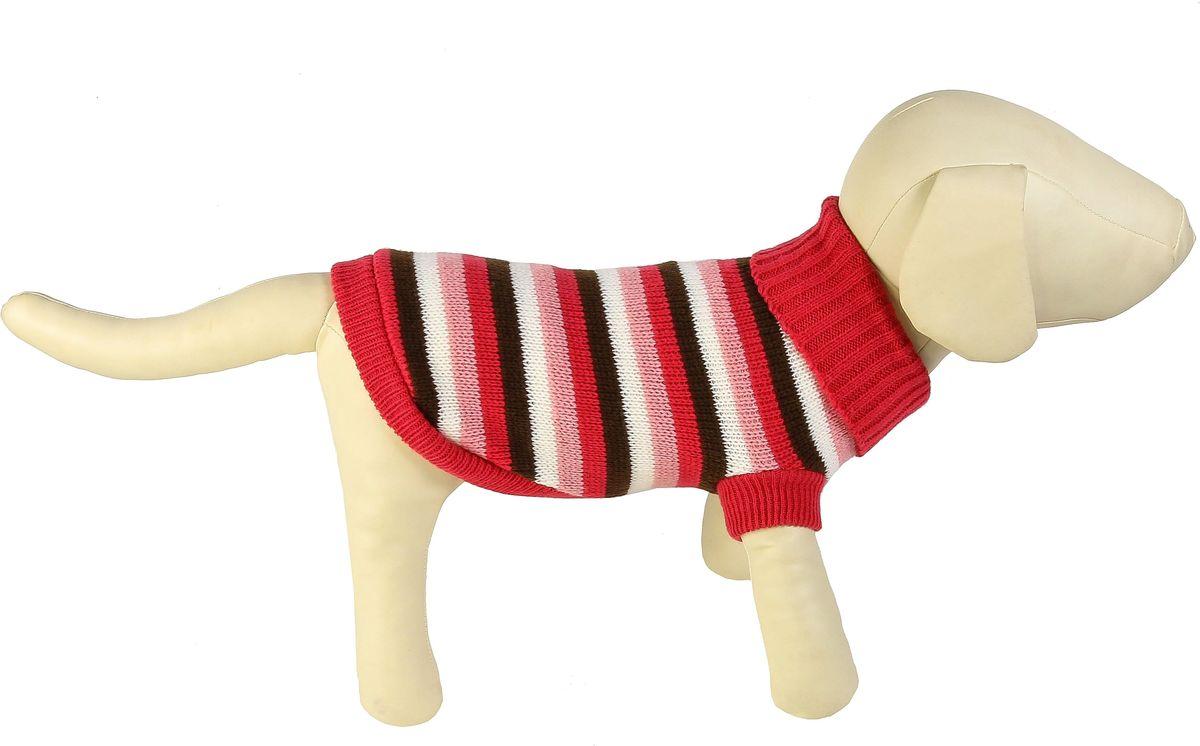 """Свитер для собак Каскад """"Полоска"""", унисекс, цвет: розовый, коричневый. Размер S"""