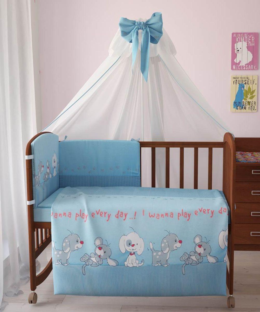 Комплект белья для новорожденных Фея Веселая игра, цвет: голубой, 7 предметов. 1011-1 комплект белья для новорожденных фея веселая игра цвет серый 6 предметов
