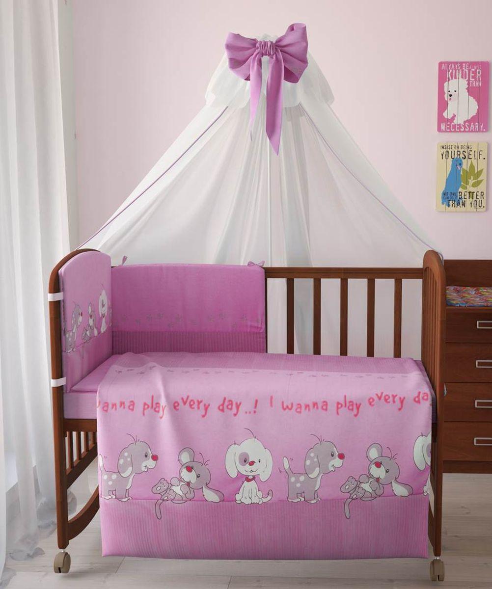 Комплект белья для новорожденных Фея Веселая игра, цвет: розовый, 7 предметов. 1011-2 комплект в кроватку фея 0001015 1 голубой