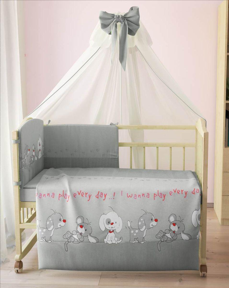 Комплект белья для новорожденных Фея Веселая игра, цвет: серый, 7 предметов. 1011-3 комплект белья для новорожденных фея веселая игра цвет серый 6 предметов