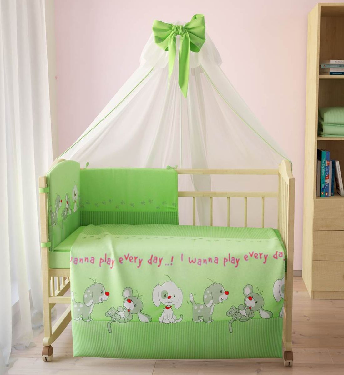 Комплект белья для новорожденных Фея Веселая игра, цвет: зеленый, 7 предметов. 1011-4 комплект белья для новорожденных фея веселая игра цвет серый 6 предметов