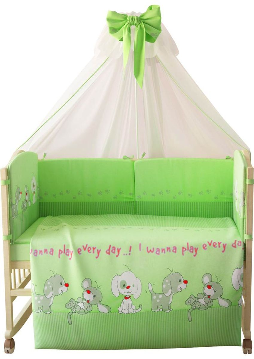 Комплект белья для новорожденных Фея Веселая игра, цвет: зеленый, 7 предметов. 1015-4 ткань для пэчворка rto 110 х 110 см pst 4 80