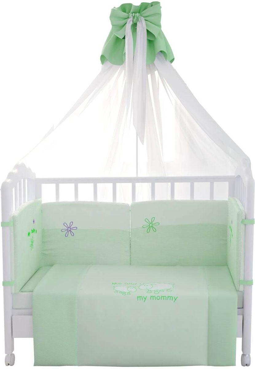 Комплект белья для новорожденных Fairy Белые кудряшки, цвет: белый, зеленый, 7 предметов fairy комплект белья для новорожденных белые кудряшки цвет белый зеленый 7 предметов