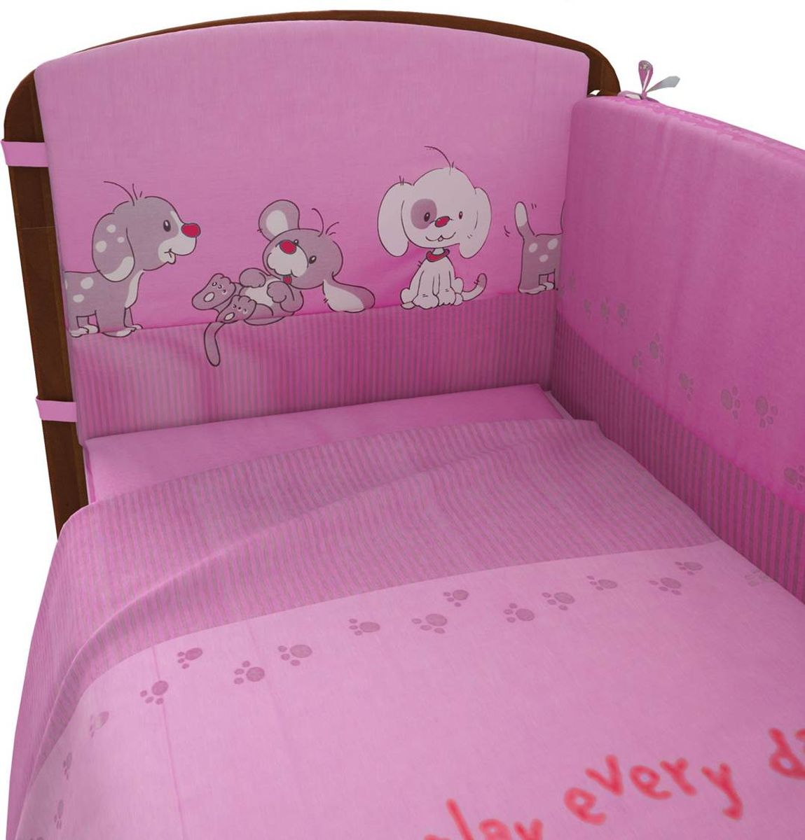 Комплект белья для новорожденных Фея Веселая игра, цвет: розовый, 6 предметов комплект белья для новорожденных фея веселая игра цвет серый 6 предметов