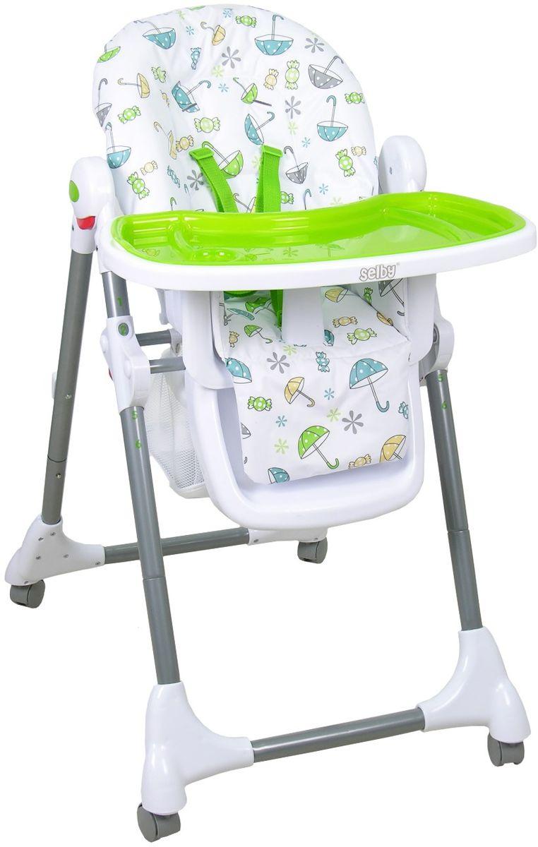 Стульчик для кормления Selby, цвет: белый, зеленый. 827378 матрас для купания selby 3 8 кг