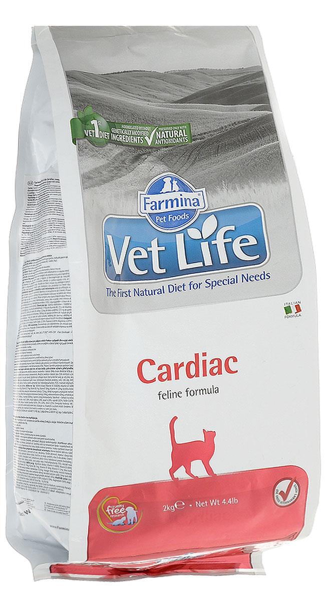 Корм сухой Farmina Vet Life для кошек, для поддержания работы сердца при хронической сердечной недостаточности, диетический, 2 кг корм сухой farmina vet life для кошек для поддержания функции почек при почечной недостаточности диетический 400 г