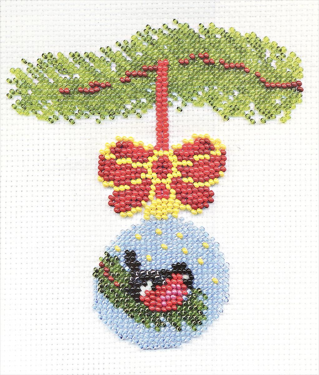 Набор для вышивания бисером Кларт Новогодний шарик со снегирем, 13 х 12 см набор для вышивания крестом кларт лицо птицы 8 x 13 см