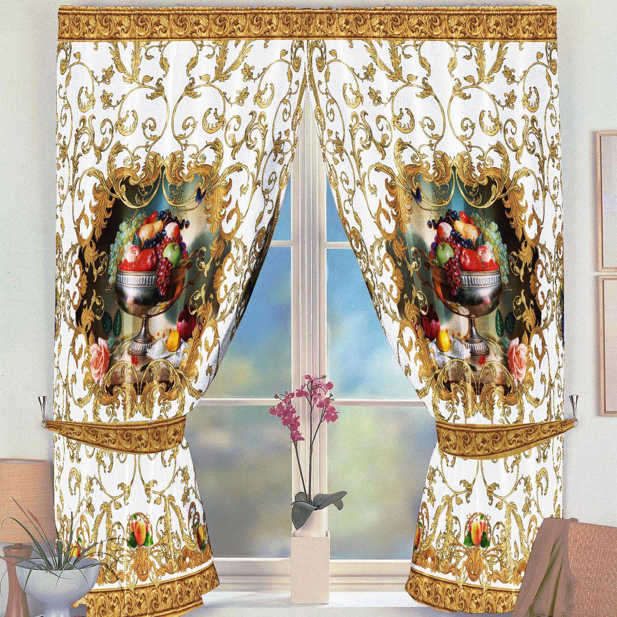 Комплект штор для кухни Zlata Korunka Фрукты, на ленте, цвет: бежевый, высота 160 см комплект штор для кухни zlata korunka на ленте цвет белый коричневый высота 170 см 333311