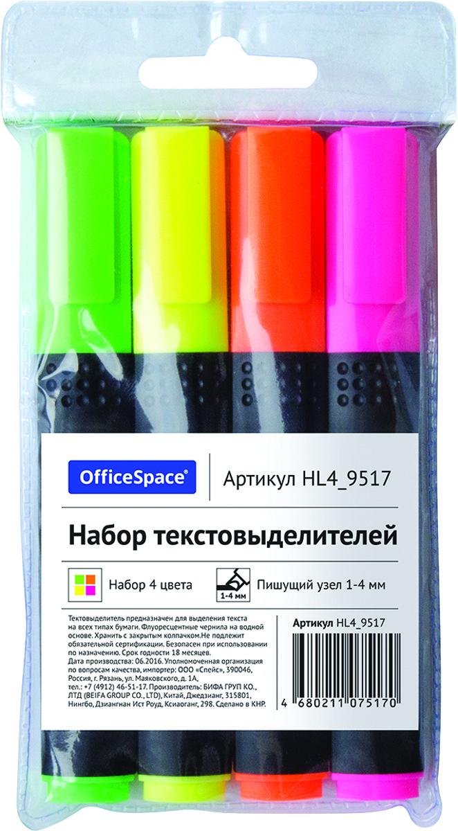 OfficeSpace Набор текстовыделителей 4 цвета HL4_9517 набор текстовыделителей silwerhof prime 4 цвета 108031 00