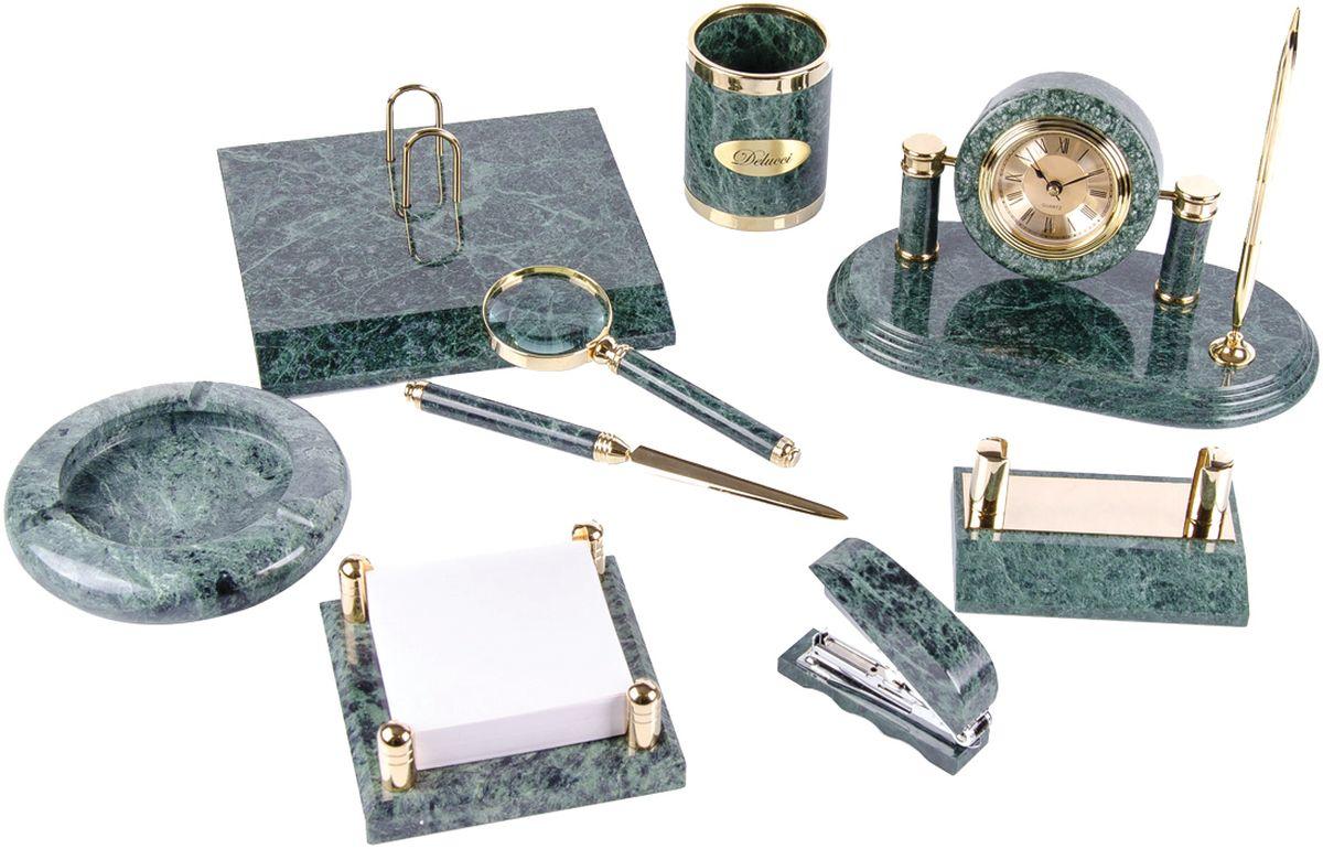 Delucci Канцелярский набор 9 предметов цвет зеленый мрамор подставка для бумажного полотенца regent