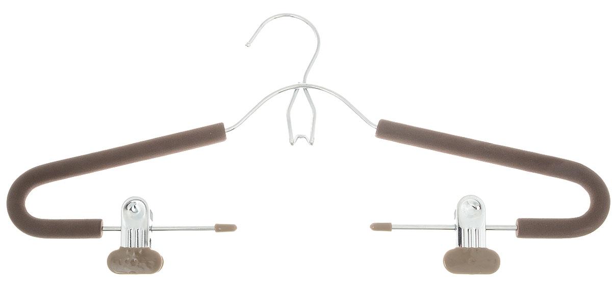 Вешалка для костюма Attribute Hanger Eva, с клипсами, цвет: кофейный, длина 42 см вешалка универсальная attribute hanger classic прямая длина 44 см