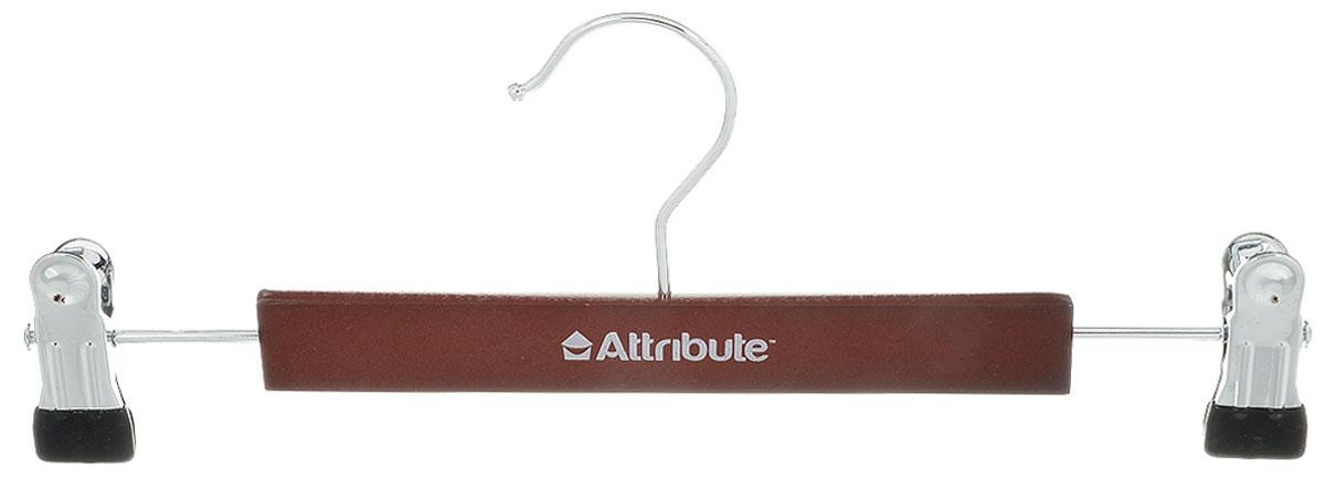 Вешалка для брюк Attribute Hanger Redwood, с клипсами, цвет: темно-коричневый, длина 30 см вешалка универсальная attribute hanger classic прямая длина 44 см