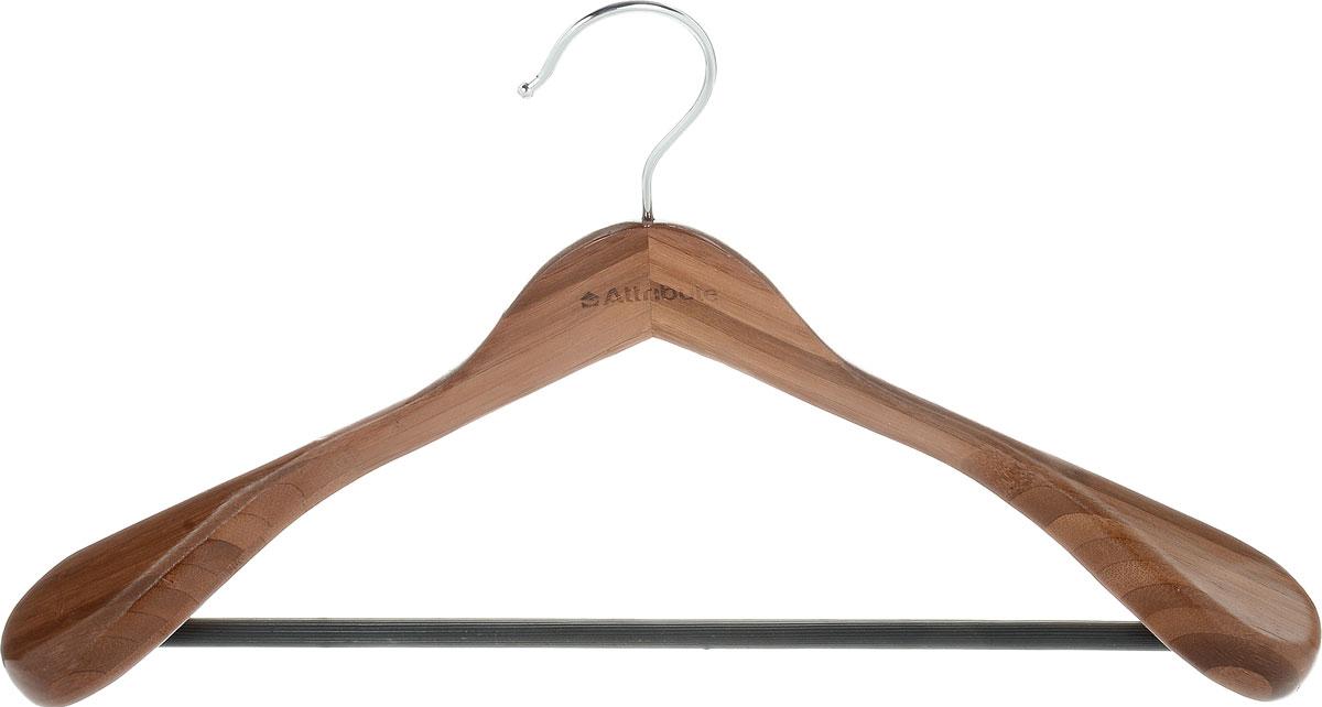 Вешалка для верхней одежды Attribute Hanger Bamboo, цвет: дерево, длина 44 см набор вешалок для одежды attribute hanger bamboo 3 шт