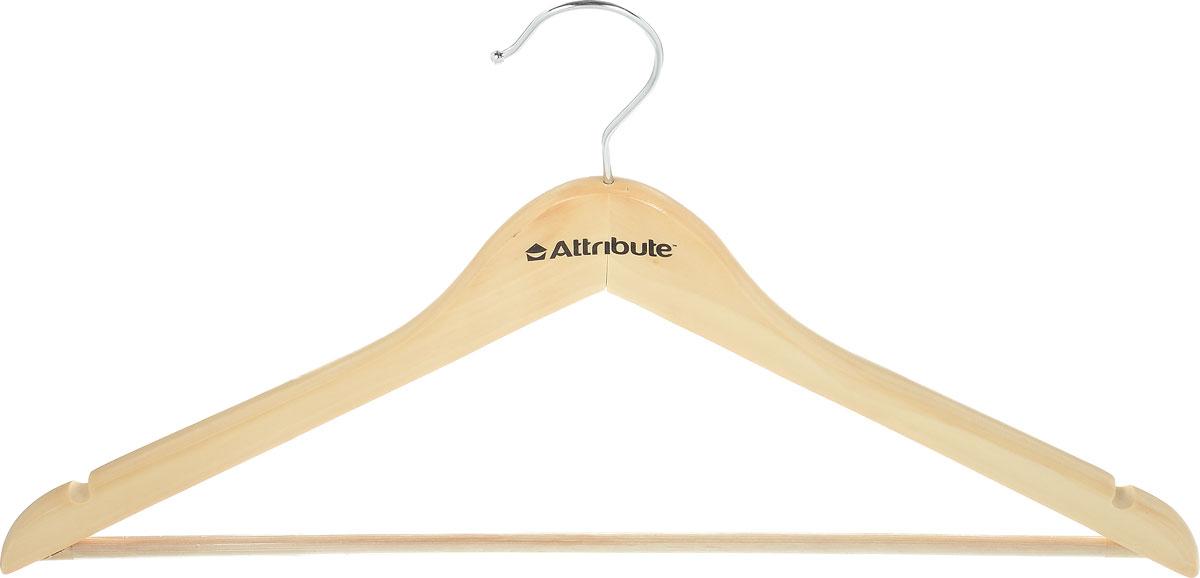 Вешалка универсальная Attribute Hanger Classic, изогнутая, цвет: бежевый, длина 44 см вешалка универсальная attribute hanger classic прямая длина 44 см