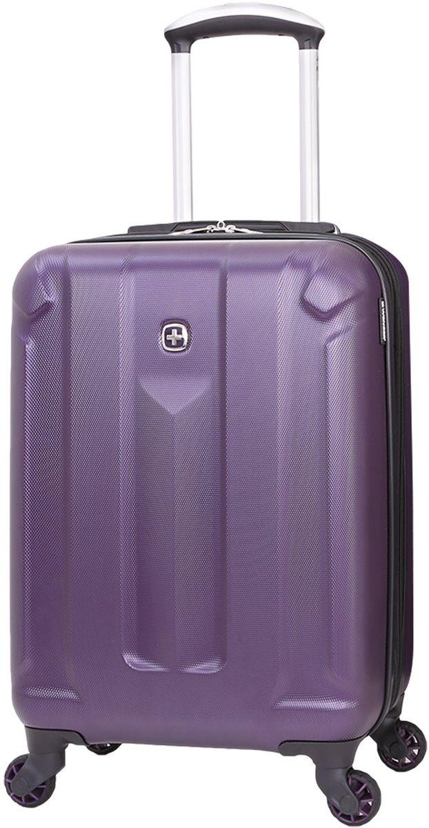Чемодан Wenger Zurich III, цвет: фиолетовый. 65739091776573909177Чемодан Wenger выполнен из ABS пластика и оформлен фирменной пластинкой. Изделие оснащено регулируемой выдвижной ручкой из авиационного алюминия с фиксатором, которая обеспечивает удобство перемещения чемодана. Также чемодан имеет удобные прочные ручки для переноски и 4 колеса, которые вращаются на 360 градусов, гарантируя максимальную манёвренность. Чемодан имеет два главных отделение, которые закрываются с помощью застежки-молнии. Внутри расположено два вместительных отделения, разделенные сетчатой тканевой перегородкой на молнии. Внутренний карман на молнии и эластичные ремни гарантируют надежную фиксацию вещей на месте. Вместимость чемодана может быть дополнительно увеличена на 5 см.